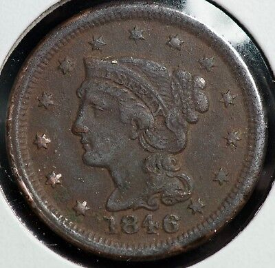 1846 Braided Hair Large One Cent Coin #2