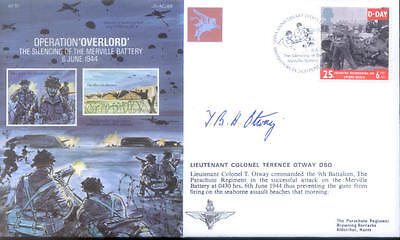 AF15 Op Overlord WWII WW2 D-day Para Merville Battery RAF cover signed Otway DSO