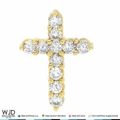 1CT Natural Diamond 14k Solid Yellow Gold Religious Cross Pendant