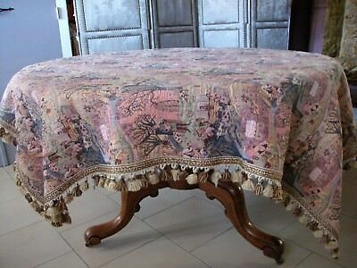 French Vintage  Tapestry Table Cover /Throw Romantic Scenes