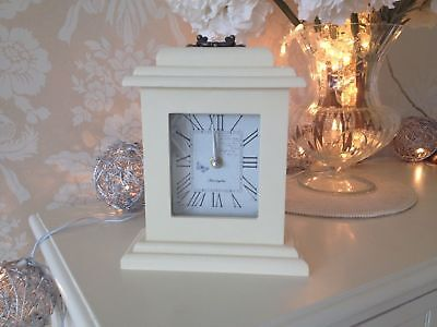 Butterfly Clock Shabby Vintage Chic Mantel French Cream Ivory Wood Carriage 24cm