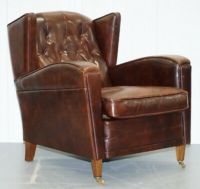 Stunning Hand Made In Holland Buffalo Brown Leather Club Armchair Tuscan Feather