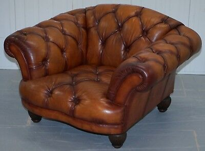 Rrp £1099 Tetrad Oskar Chesterfield Vintage Brown Leather Armchair Part Of Suite