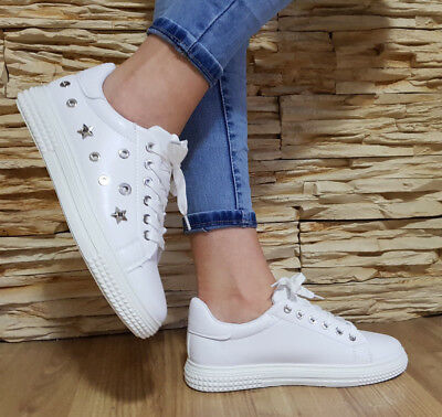 LADIES SNEAKERS SIZE UK 3.5-7.5 TRAINERS PUMPS WHITE STAR EMBELLISHED WOMEN'S