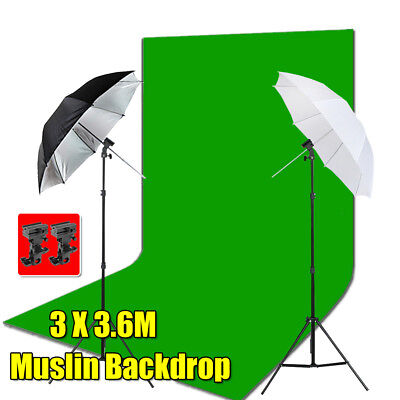 3x3.6m Green Muslin Backdrop Photo Professional Flash Speedlite Umbrella 2 Mount