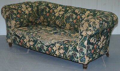 Victorian Sofa William Morris Golden Lilly Upholstery Restoration Reupholstery