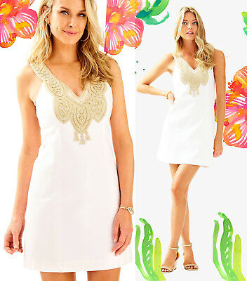 5322821bf076a2 $198 Lilly Pulitzer Largo Resort White Gold Lace Embroidered Shift Dress