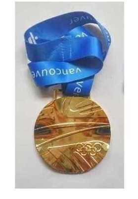 2010 Vancouver 'Undulated Shape' Olympic 'Gold' Medal with Display Stand !!!