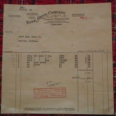 Tonk Bros. Company Invoice - Musical Merchandise Chicago - 1941 WWII Notice
