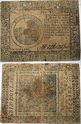 1775 Continental Currency $6 Note, nice Fine, well circulated but sharp printing