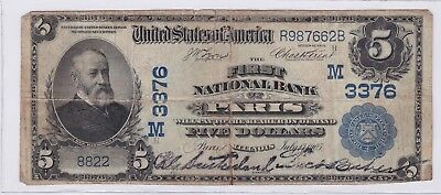 1902 $5 First National Bank of Paris Illinois Five Dollars Bank Note