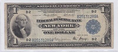 1915 $1 Federal Reserve Bank of New York National Currency One Dollar Bank Note