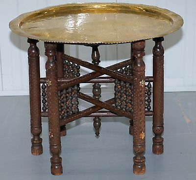 Rare Vintage Moroccan Etched Brass Round Tray Table Mother Of Pearl Inlaid