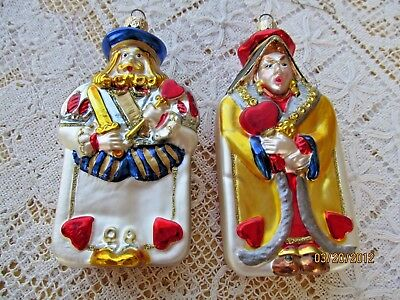 Polonaise Blown Glass Ornaments 2 Playing Cards King & Queen Of Hearts Adler