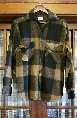 VTG 60s 5 BROTHER BUFFALO PLAID CPO SHIRT JACKET SIDE GUSSET sz 44 WOOL FLANNEL