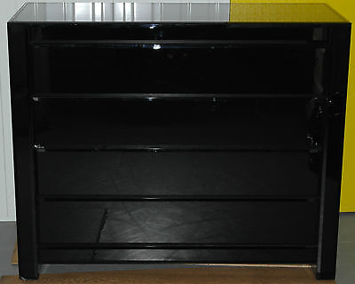 Rrp £6000 Cavalli Midnight Black Tapered Glass Drawers No Handles Push Entry