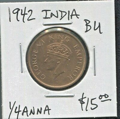 India - Fantastic Historical George Vi Bronze 1/4 Anna, 1942 Km# 530.1