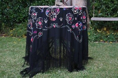 Huge Butterfly Flower Vintage Heavily Embroidered Black Piano Flamenco Shawl