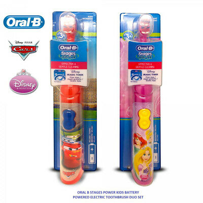 (2 X1)Oral B Stages Power Kids Disney Cars Electric Battery Toothbrush Magic App