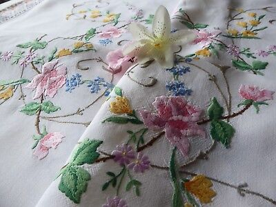 Vintage Hand Embroidered  Linen Tablecloth = Very Beautiful Floral Embroidery