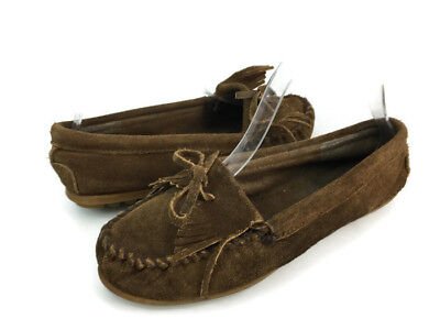 Minnetonka Women's Brown Suede Slip On Moccasin Driving Loafers US Size 8
