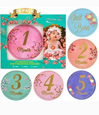 * Floral First Year Monthly Baby 24 Stickers Milestone Photo Prop Bodysuit