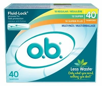 o.b. Fluid-Lock Multi-Pack Tampons, Regular, Super, Super Plus - 40 Count ea.