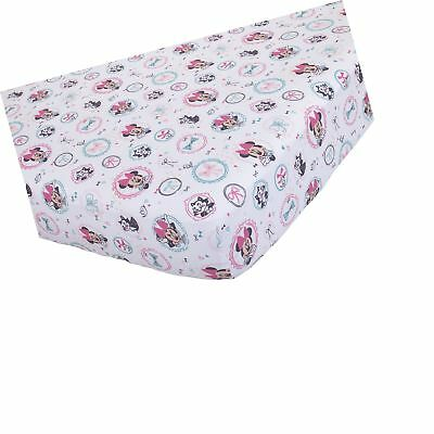 Disney Baby Minnie Mouse All About Bows Fitted Crib Sheet, Pink, Aqua