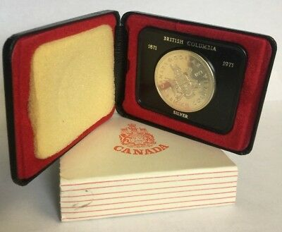 1971 British Columbia Canada Silver Dollar With Box - Free Shipping