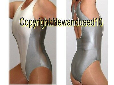 Sexy Shiny Silver White Keyhole Back Leotard, Body Suit Or Swimsuit M L
