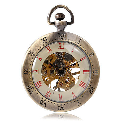Antique Style Open Face Hand Winding Mechanical Pocket Watch Roman Numbers Watch