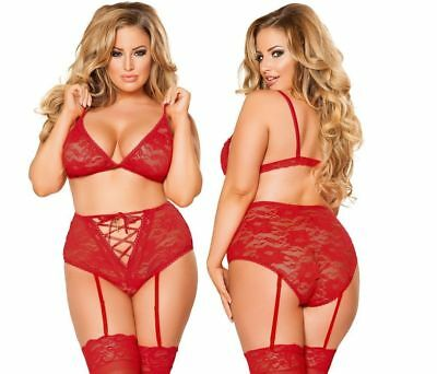 18 - 20 Hot Sexy Plus Size Lace Bralette Top Connection Bra Set Panties Red