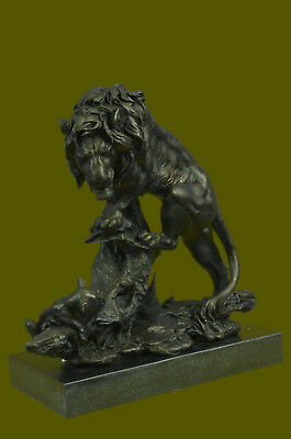 Cougar Mountain Lion With Cub Bronze Sculpture Outdoor/ Indoor Figure Gift Decor