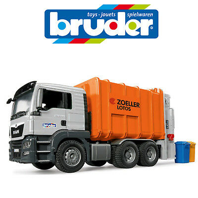 New Bruder 1:16 Large Man Tgs Rear Load Garbage Recycle Truck Made In Germany