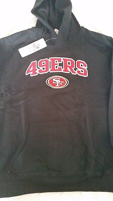 New Nfl San Fransisco 49Ers Authentic Bl.ack Hoodie - Boys Sz 14-16