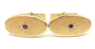 RARE TIFFANY AND CO. 14k YELLOW GOLD TEXTURED SAPPHIRE MENS CUFFLINKS