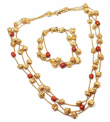 Authentic! Vintage Roberto Coin 18k Yellow Gold Coral Set Of Bracelet & Necklace
