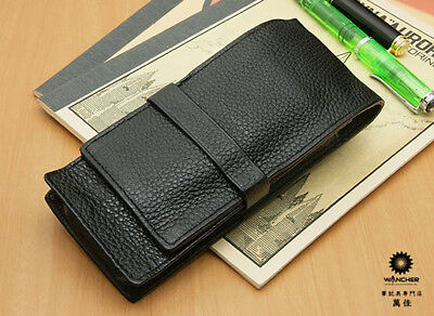 Wancher Japan Black Triple 3 Pens Case Genuine Calfskin Leather Brand New