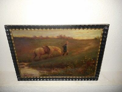 Very old oil painting, Man with his horse, is signed, nice frame. Is antique!