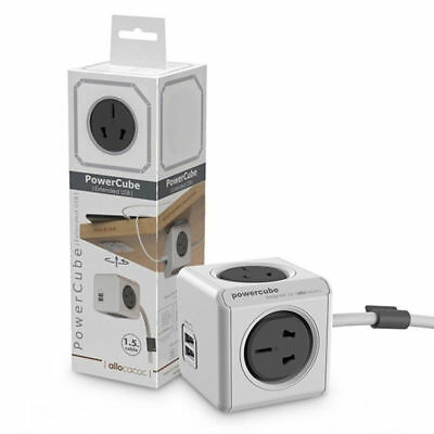 Allocacoc PowerCube Extended 4 Outlets and 2 USB Ports 1.5M , One Cube Grey