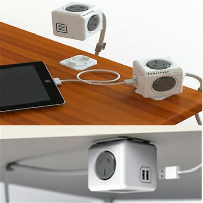 NEW Allocacoc PowerCube Extended 4 Outlets and 2 USB Ports 1.5M , One Cube Grey