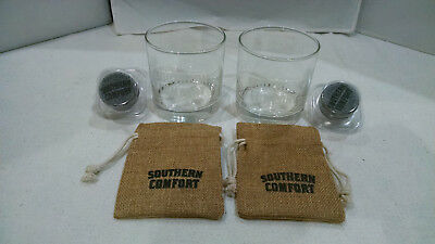 Southern Comfort Whiskey Promo Glasses Cups Stones And Sacs  2 Lot
