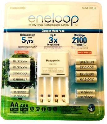 Panasonic Eneloop Rechargeable Batteries NiMH 8-AA 4-AAA + Battery Charger