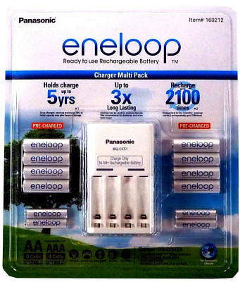 Panasonic Eneloop Rechargeable Batteries NiMH 8-AA 4-AAA + Battery Charger, NEW