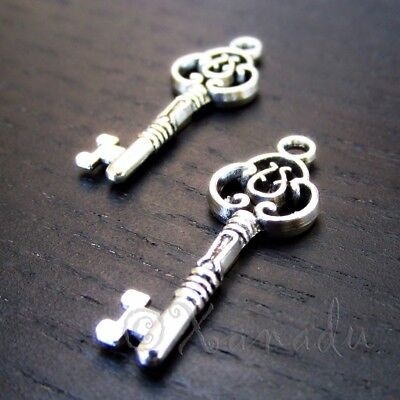 Key Charms 29mm Antiqued Silver Plated Pendants C2315 - 10, 20 Or 50PCs