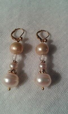 Gold, Champagne, Pink Pearl Drop Earrings in Gold Vermeil
