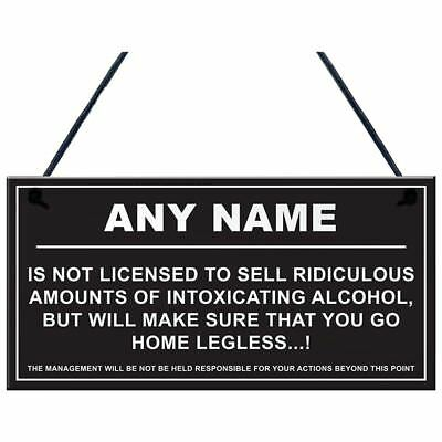 5X(Personalised Man Cave Sign Home Shed Pub Bar Licensee Funny Alcohol Lice X4Z6