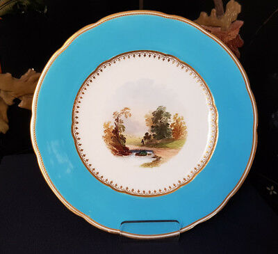 Antique Cabinet Plate, Copeland Hand Painted and Enameled, late 1800's.