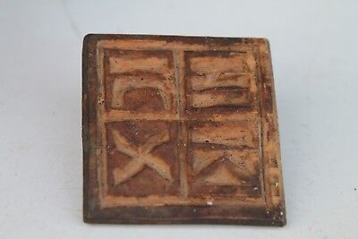 Antique Rare Primitive Wooden Kitchen Ritual Bread Stamp- Prosphora