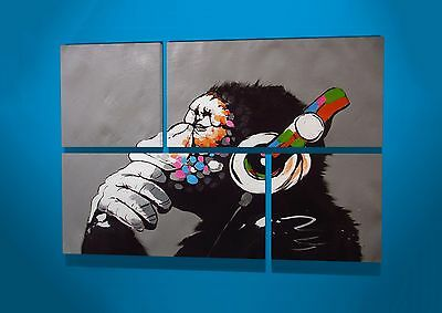Banksy DJ Monkey Gorilla Street Graffiti 4 Panel Wall Canvas Art Picture Work